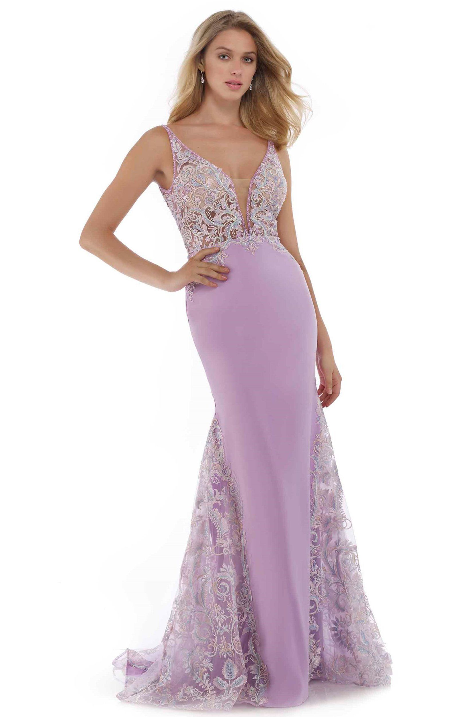 Morrell Maxie 16098 Embroidered Deep V neck Mermaid Dress