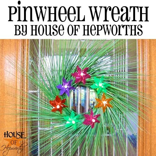 Spring Pinwheel Wreath (DIY using dollar store items!) Find the full tutorial + a video over at House of Hepworths - an awesome Home, Decor, and DIY blog!