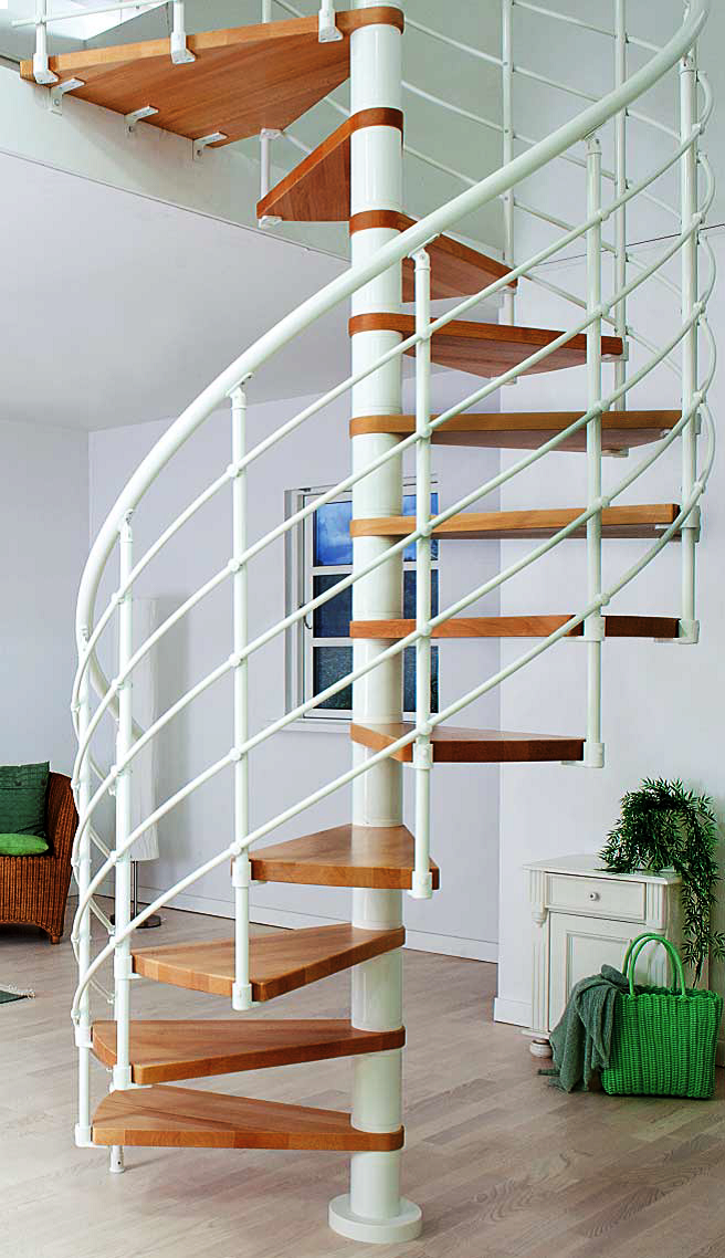 Best Dolle Kit Stairs Oslo Spiral Staircase White Spiral 400 x 300