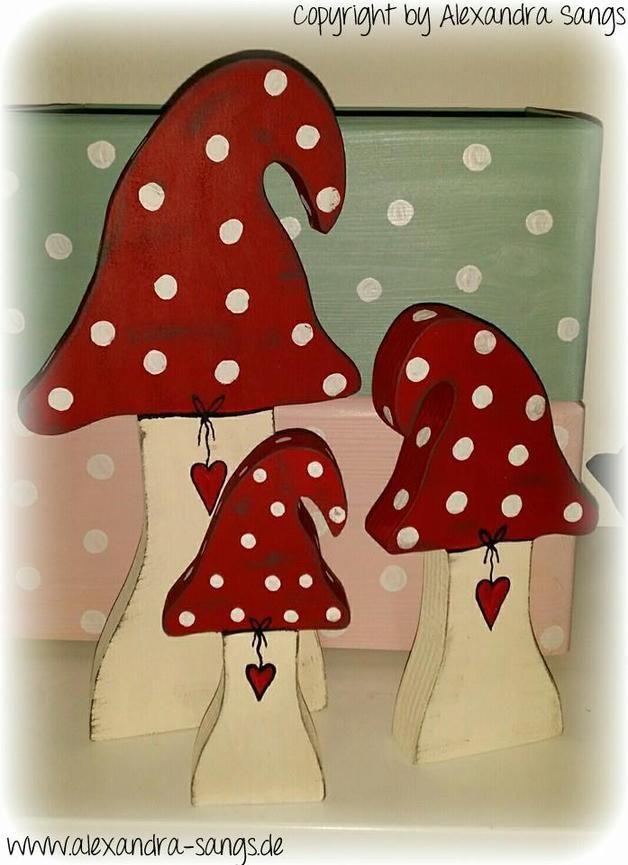 Deko-Objekte - 3 Pilze, Holz, Fliegenpilz, Pilz ...