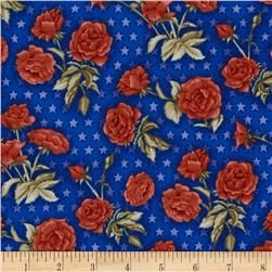American Beauty Tossed Roses with Stars Blue  www.fabric.com