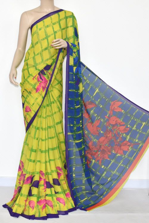 f9c0fd01f0 Yellow Blue Printed Wrinkle Georgette Saree (With Blouse) 13430 ...
