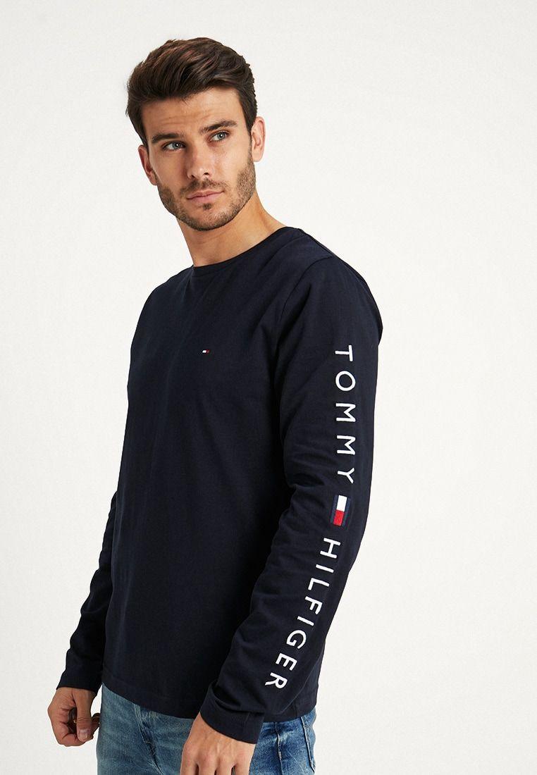 Tommy Hilfiger Logo Long Sleeve Tee Long Sleeved Top Blue Zalando De Long Sleeve Tshirt Men Tommy Hilfiger Outfit Long Sleeve Tee Outfit [ 1100 x 762 Pixel ]