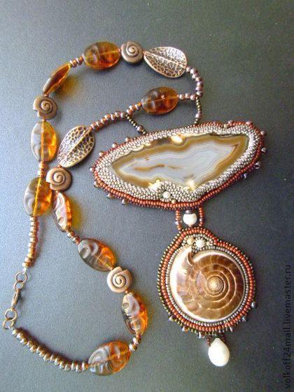 """Кулон """"Тайны древних морей"""" - коричневый,украшения ручной работы,украшение на шею"""