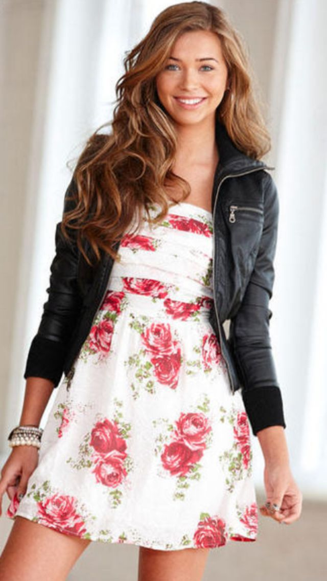 Super cute red rose pleat dress with leather jacket I'm ...