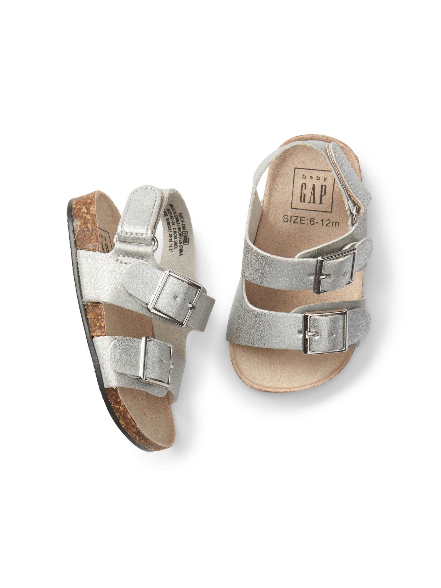 Gap Baby Double Buckle Sandals Silver 0 3 M