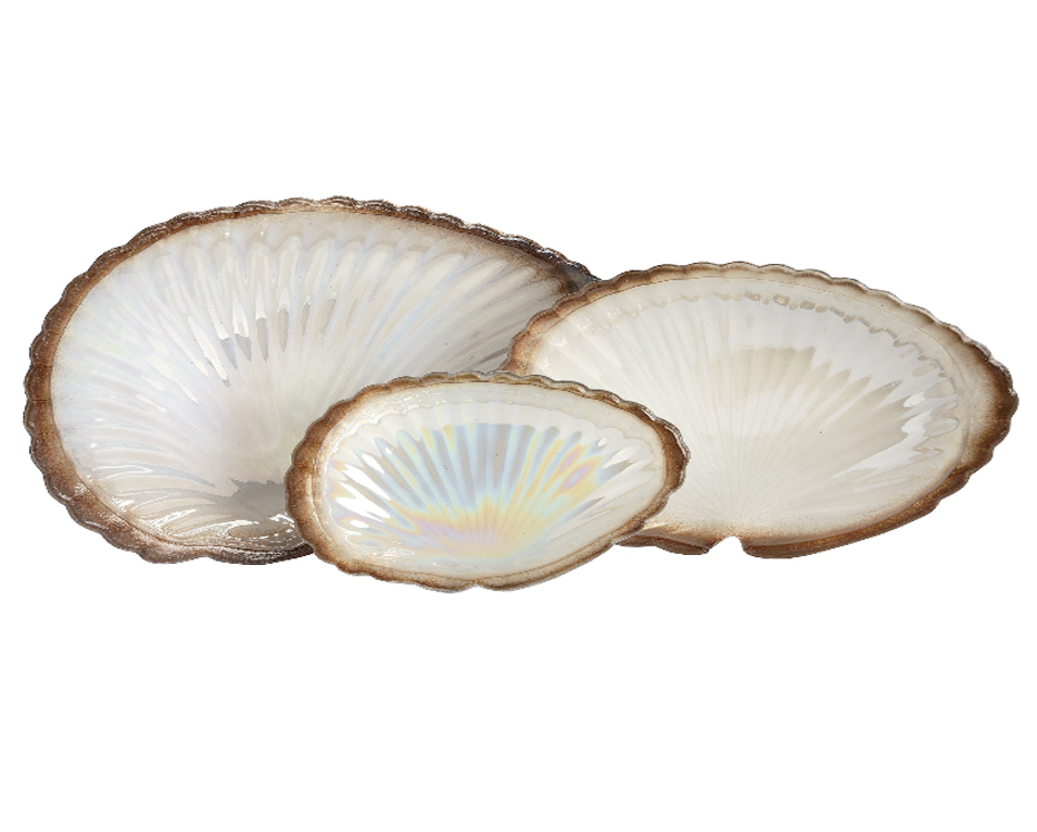 Gold And Cream Clam Shell Display Dish