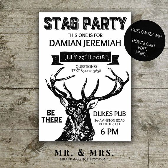 Editable Stag Party Invitation DIY Instant by MrandMrsShop – Stag Party Invitation