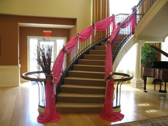 Staircase Decor Idea Use Fabric Different Color Stair Decor