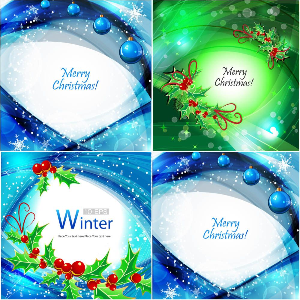 Wavy Christmas Cards And Backgrounds Vector