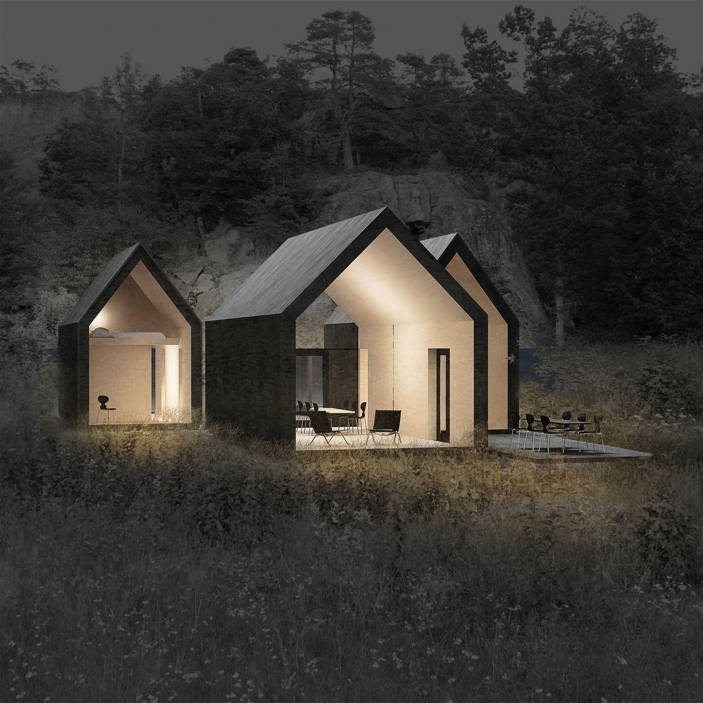 a cluster of 3 cabins in noway - Buro Zu Hause Mit Seestuckunglaubliche Bild