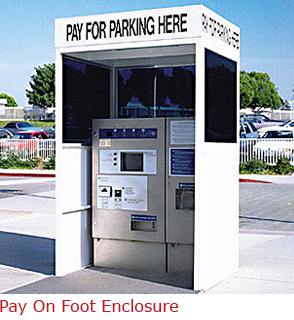 """Pre-Pay enclosures from B.I.G  Enterprises  come in standard or custom designs. These shelters protect your high tech """"Pay on Foot"""" parking equipment, while helping the customer find the pay station. Visit: http://www.bigbooth.com/security-booths/pay-foot-enclosure"""