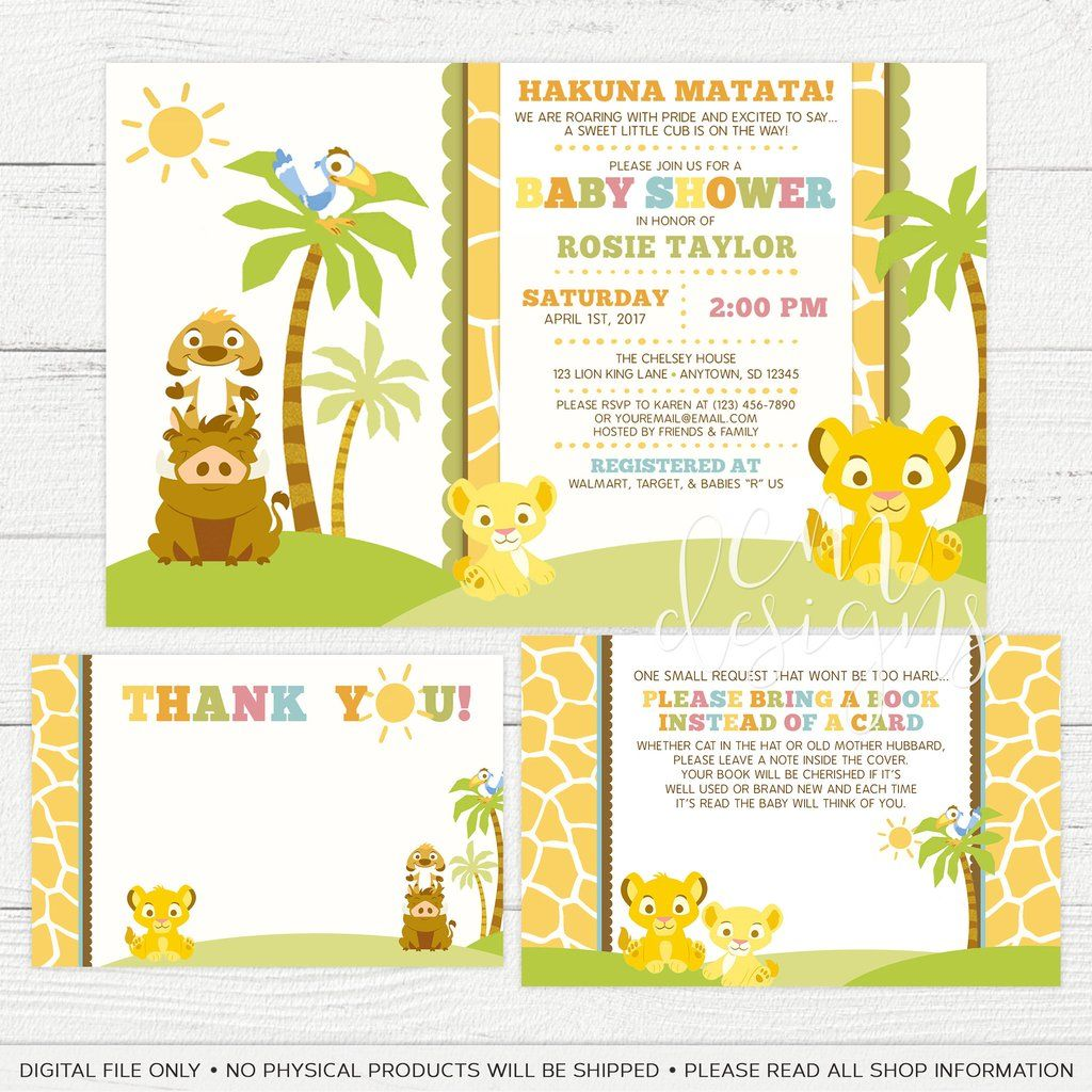 Lion King Baby Shower Combo Package (Invite, Book Card, and Thank ...