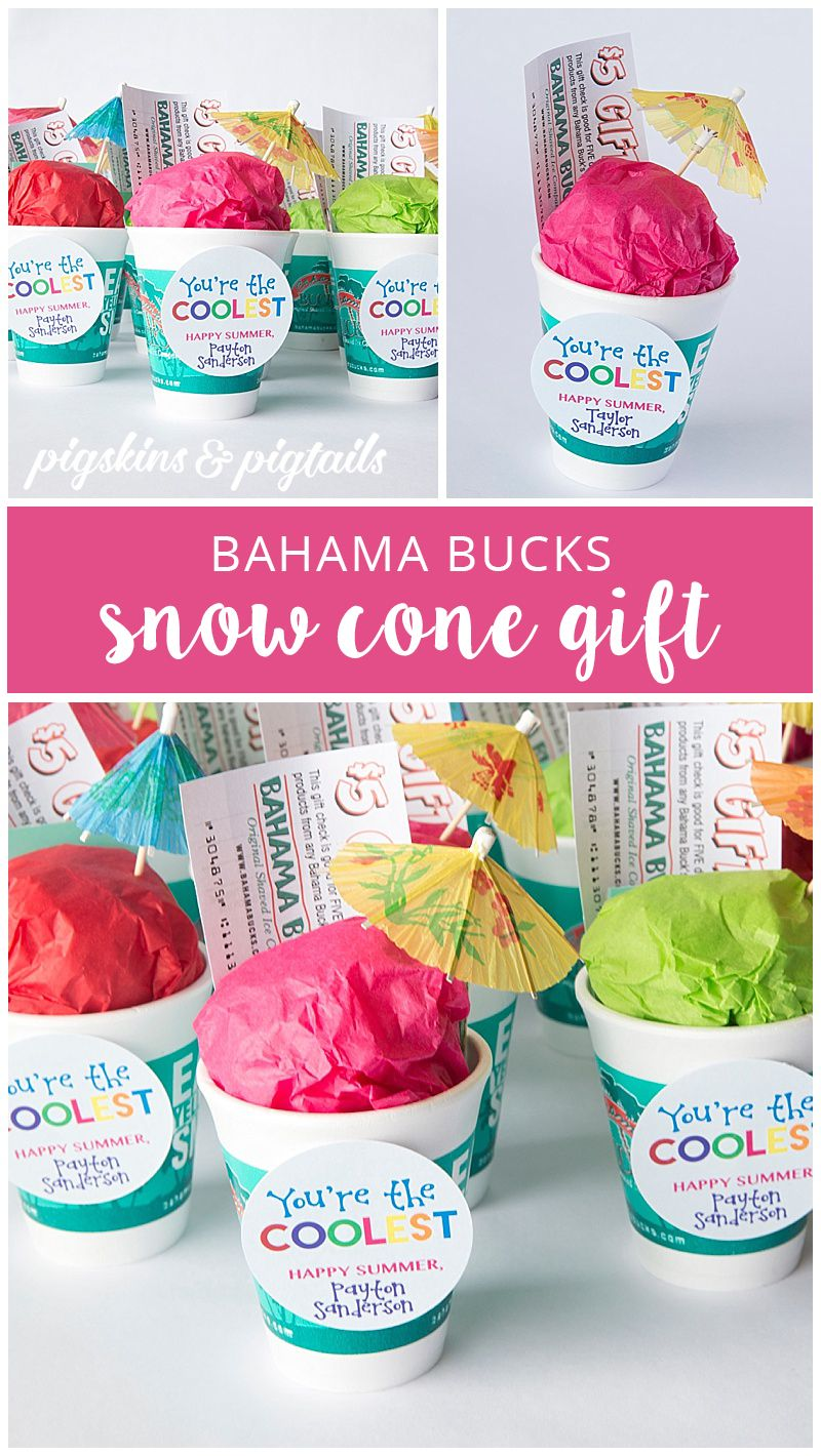 Bahama Bucks Snow Cone Gift Idea Summer Gift Baskets Teacher
