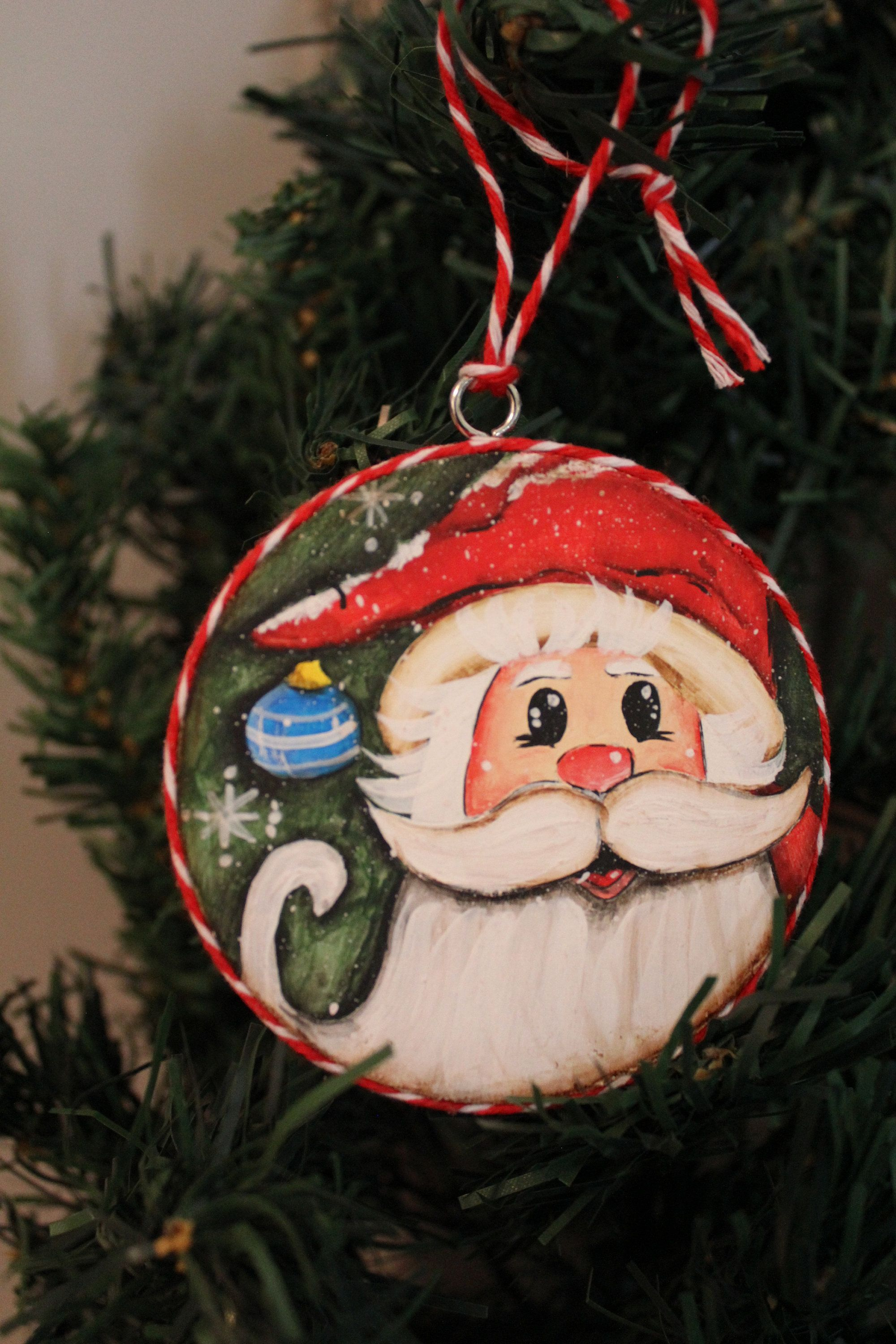 Hand Painted Wood Disc Christmas Ornament Santa And Etsy In 2021 Christmas Ornaments Hand Painted Wood Painting On Wood