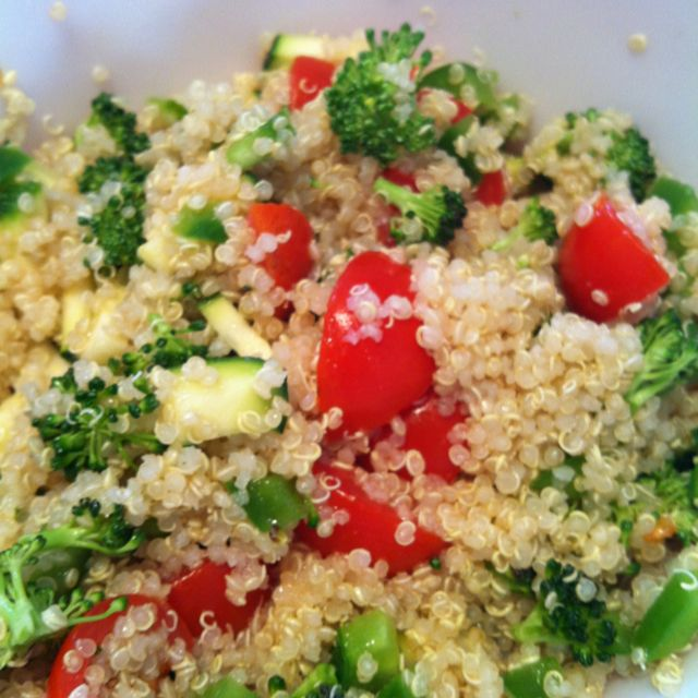 Quinoa with cherry tomatoes, green peppers, zucchini and Italian dressing!