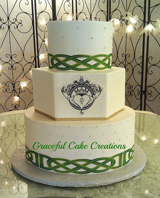 Without the black drawing - Irish Wedding Cake by Graceful Cake Creations, via Flickr