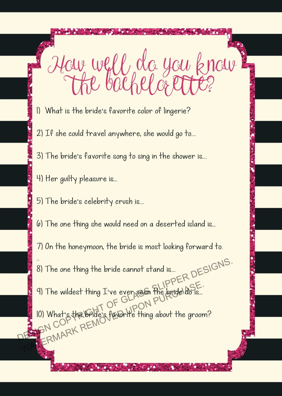 Printable Bachelorette Quiz Bride Hen Party