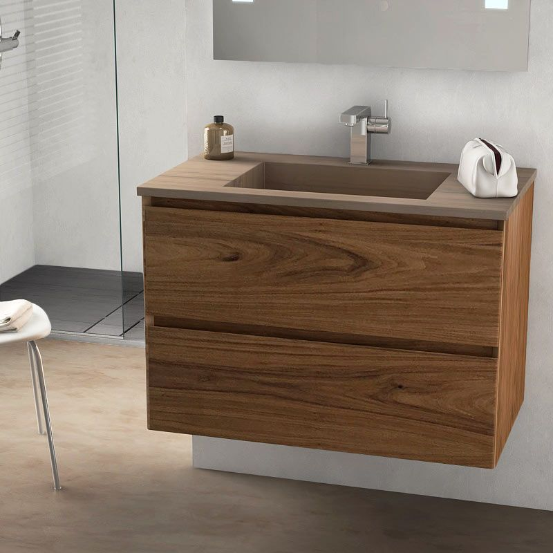 Cordoue, meuble salle de bain bois noyer 81 cm, vasque pierre 3