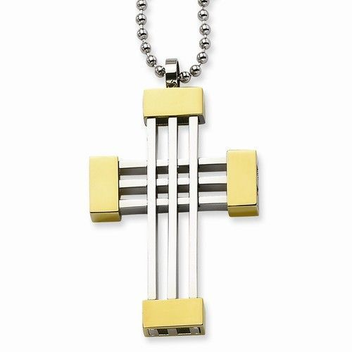 Stainless Steel Polished Gold-plated Cross Pendant 20in Necklace