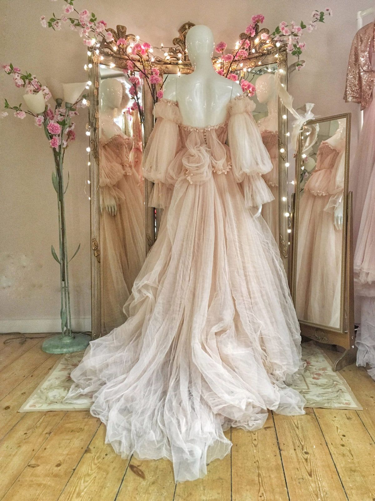 Blush tulle and lace romantic fairytale wedding dress by Joanne Fleming Design …