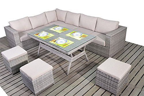 Dallas Rustic Garden Furniture Corner Sofa Dining Table Set
