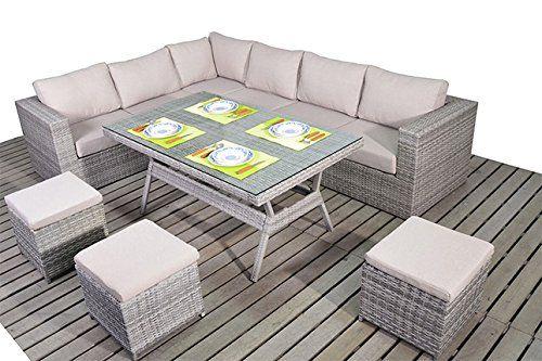 Dallas Rustic Garden Furniture Corner Sofa Dining Table Set