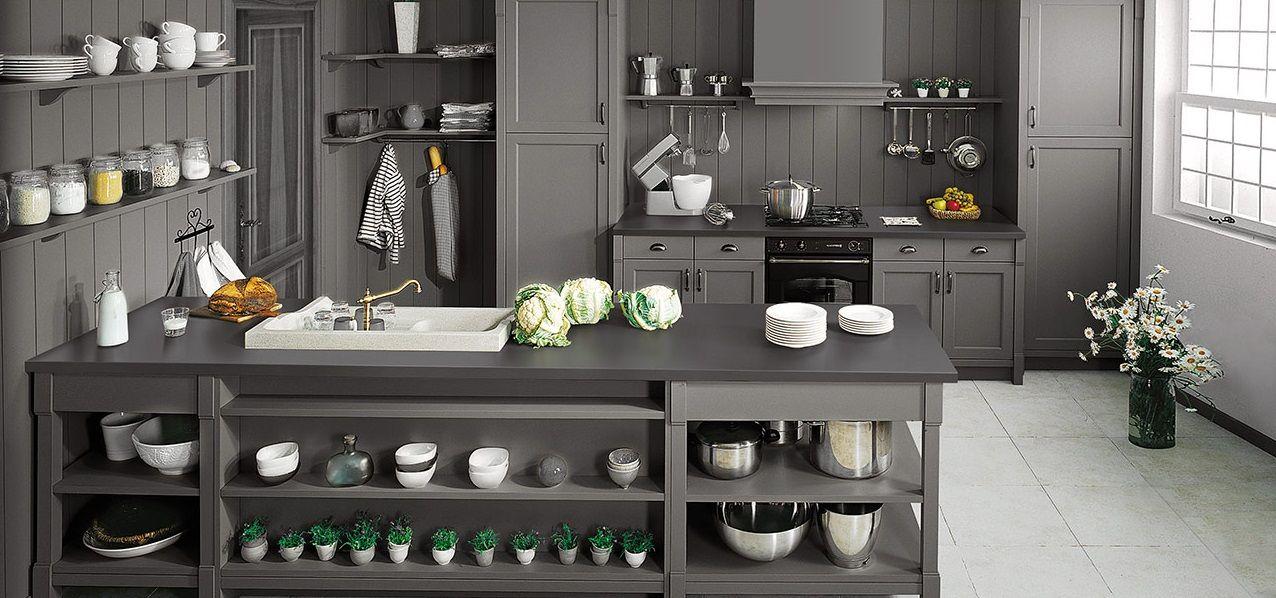 Grey shaker style Schmidt Kitchen in Barnet; with island, black