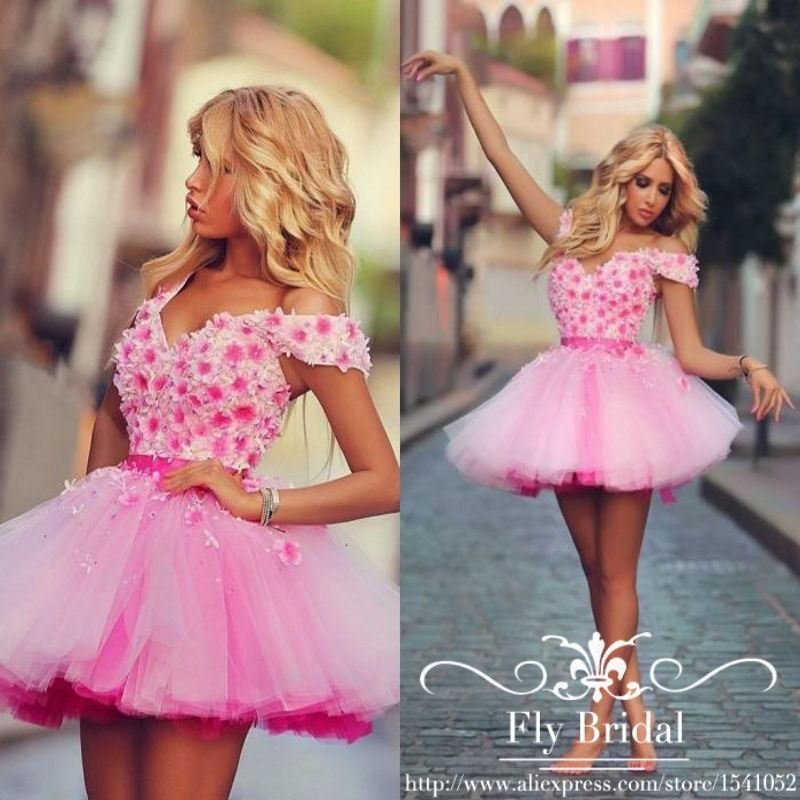 Click to Buy << Cute Pink Short Prom Dresses 2016 Flower Crystal ...