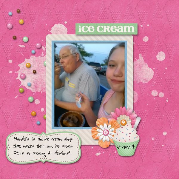 10/4/14 Gotta Pixel Digital Scrapbook LOTD: Today's Layout of the Day is Ice Cream by snowowl551.