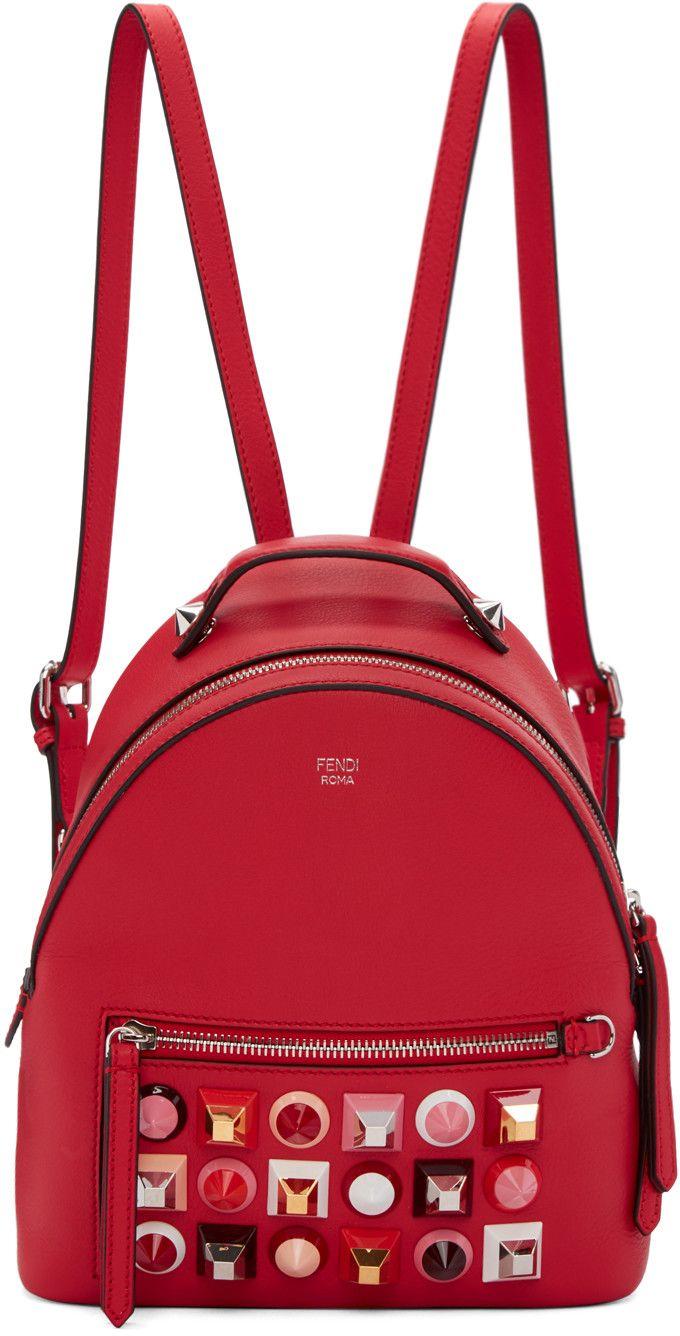 FENDI Red Mini Studded Backpack.  fendi  bags  leather  lining  backpacks   93ab8624978