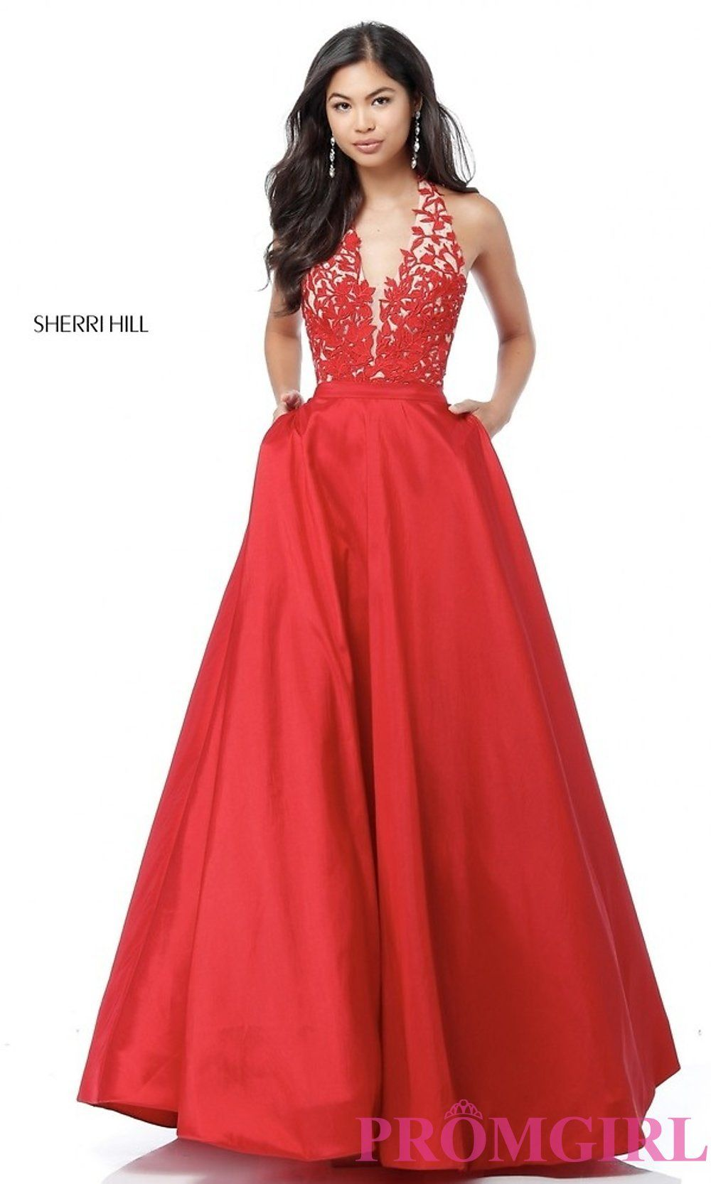 3b0710fada0 Sherri Hill V-Neck Embroidered-Lace Halter Prom Dress