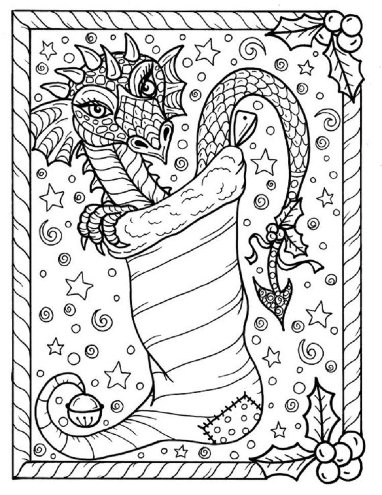 Christmas Dragon Coloring Pages Design