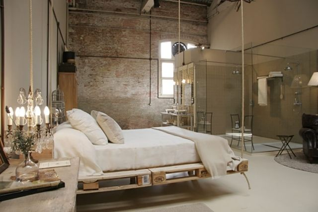 Ideen Fur Palettenmobel Bett Hangend Vintage Wohnung Einrichtung