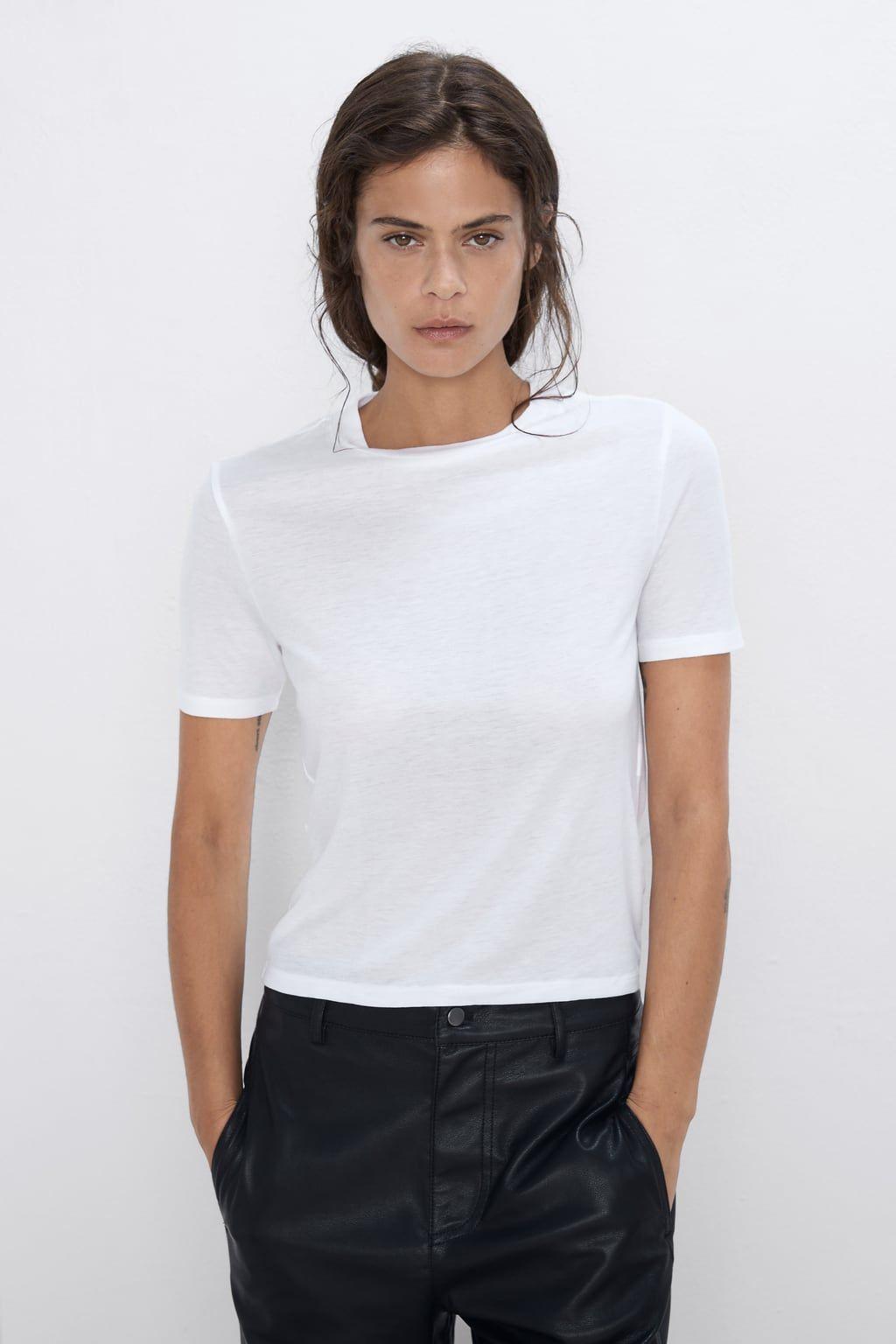 Camiseta Cuello Perkins Básicos Camisetas Mujer Zara España Mock Neck Top Sleeveless Tshirt Women