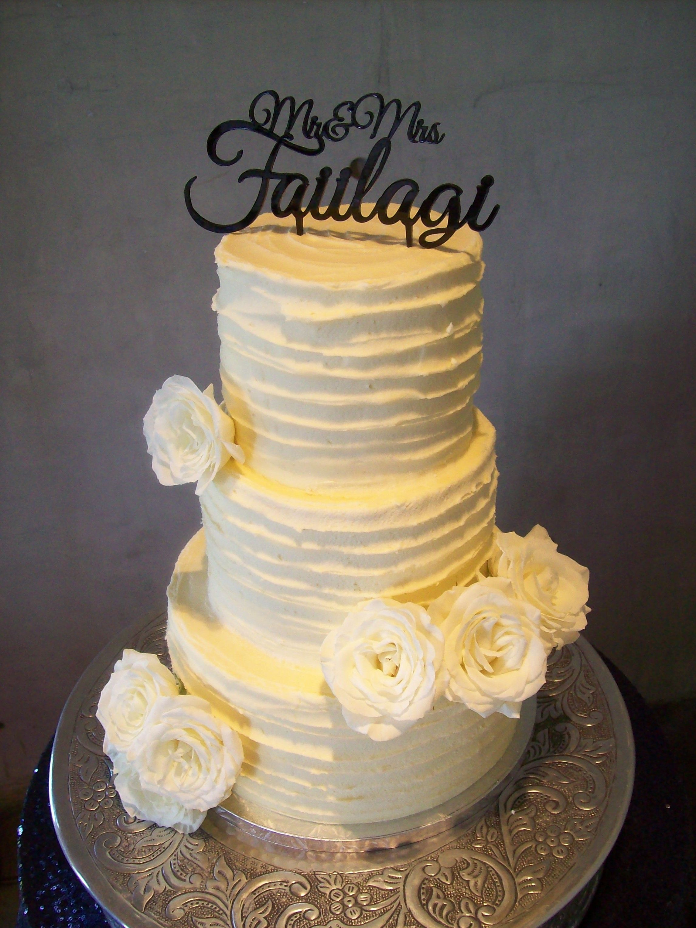 Rustic Wedding Cake Auckland $595 (topper supplied by client so not ...