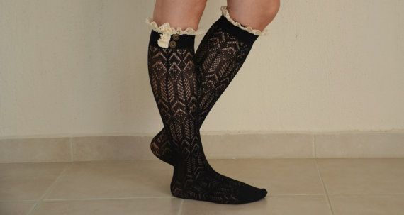 Black knit lace boot socks leg warmers lace boot socks by bstyle