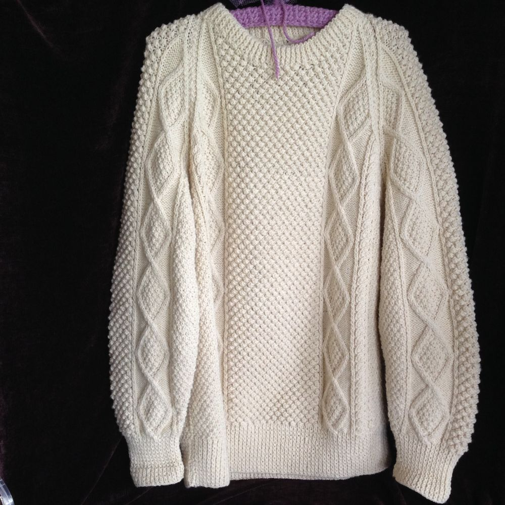 EUC Irish Wool Fisherman Cable Knit Sweater Handmade Cream Men's Large