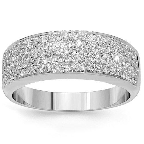 Amazon Com 18k White Gold Womens Diamond Wedding Band 0 81 Ctw