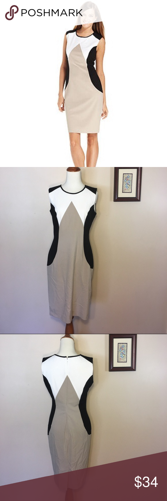 Calvin Klein Color Block Neutral Sheath Dress 4 S Sheath Dress Dresses Career Wear [ 1740 x 580 Pixel ]