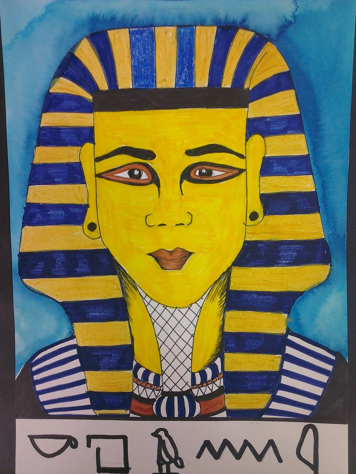 King Tut's Portrait  Step-by-Step photos at:  www.onceuponanartroom.com