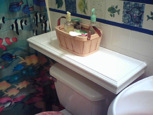 Over The Toilet Table Use Since There No Tank Guest Bath Shelf Jpg