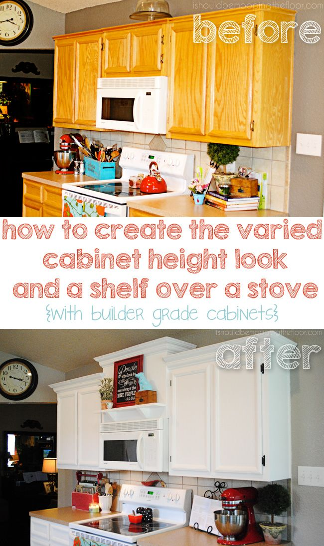 Creating Faux Varied Height Cabinets and a Shelf Over a Stove - Diy kitchen cabinets, Kitchen cabinets makeover, Kitchen makeover, Diy kitchen, Painting kitchen cabinets, Diy cabinets - width thing make sense  In my head, it totally does  But sometimes that doesn't translate, so leave me a comment if you need some 'splainin'  And this part is purely so you won't do this  I had originally wanted decorative corbels to hold up the shelf  However, the height of most corbels is a minimum of seven inches    which would have been halfway to the ceiling  ReeDONKulous  So I thought I'd make my own  What I should have done was use a 2x4 to cut the traingles   instead I created one by cutting triangles out of 1x4s and stacking them  Why  Because I had already been to the big orange store four times that day  I was determined to not go back  I just created a whole new thing to have to work on in the endless list that was our kitchen  I squirted them with Liquid Nails and sandwiched them together  Stupid  Then I spent an hour of my very limited time the next day filling and sanding these things  An hour  And they still aren't quite perfect  Really stupid  I took the smaller of the two long boards and mounted it to the board with wood screws  I made sure to  catch  the screws on the cabinet's wood that's under this front piece we installed  This is anchoring the entire shelf, so I had to get it right  I took the longer board and laid it on top of the attached board, at a 90 degree angle  Then I predrilled my holes as pictured above, making sure they went into that attached board underneath  Please excuse my arm   I was feeling quite accomplished predrilling and photographing simultaneously  But now, this just looks a little weird  Then I drilled my screws in  I sunk them in, so I could fill them with spackle later and have a seamless look  So, technically, these faux corbels are purely decorative  The shelf is already attached to the board  I just Liquid Nailed these in place  And then kept tape on them for 24 hours so they didn't wiggle on me  Filled  Sanded  Wiped  Painted tutorial on the cabinet painting coming soon  Whatcha think  Here's how I decorated it for David's birthday last weekend  The big fourohhhhhhh  And here's my everyday look   as of right now, anyway  The ceramic doggie was a Goodwill find that I gave a coat of spray paint and a little sanding  The tea cup was from my mom's collection and the recipe box filled with amazingness is from my late uncle who was a baker at The Manhattan Cafe in San Antonio back before God was a boy  The plant   is of the faux nature  Download the above free printable here  I originally fell in love with the stove shelf concept when I saw it over at Less than Perfect Life of Bliss  Hers is amazing! i linkyparty here and at Coastal Charm and Savvy Southern Style Neglect your chores like me and don't miss a thing Follow on Facebook   Follow on Twitter   Follow on Pinterest   Follow on Google+