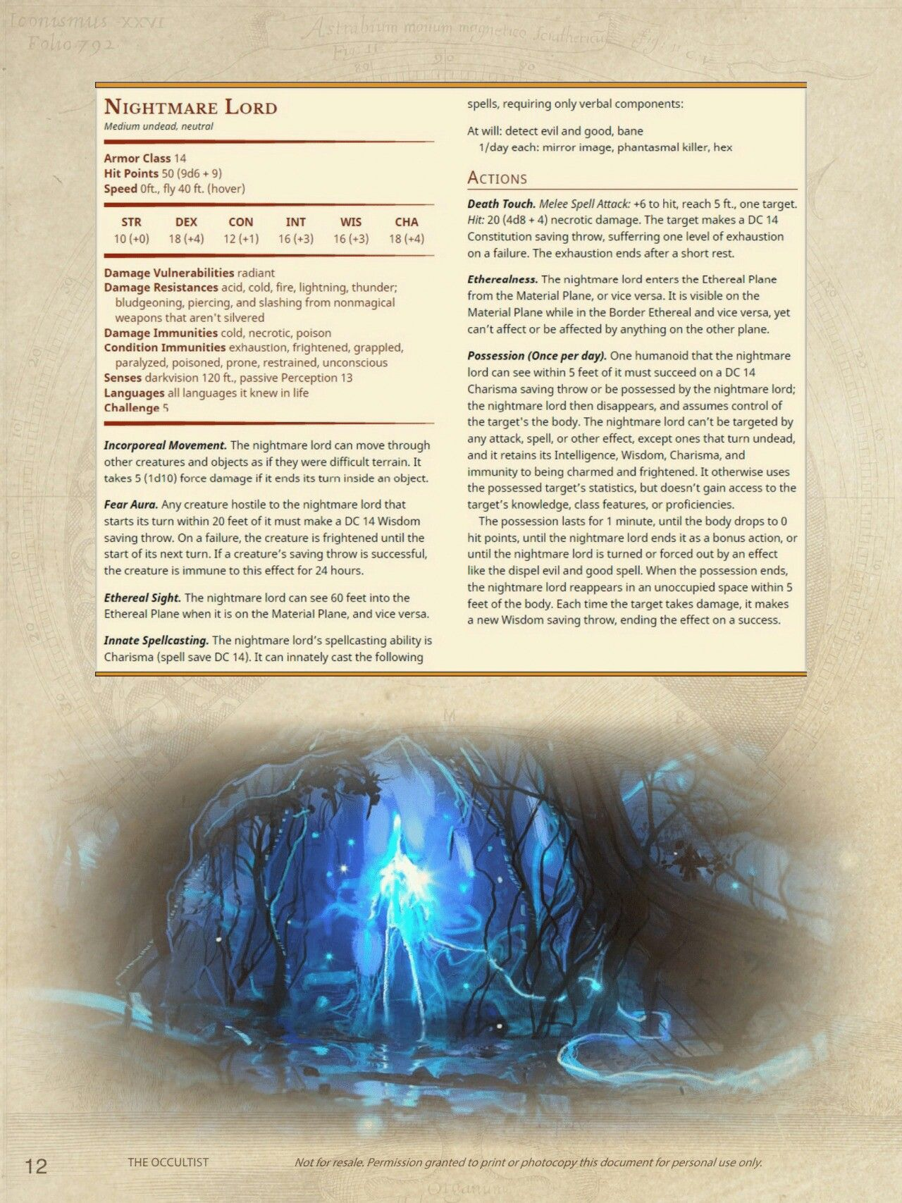 Nightmare Lord CR 5 | DnD - Monsters in 2019 | Dnd 5e homebrew, Dnd