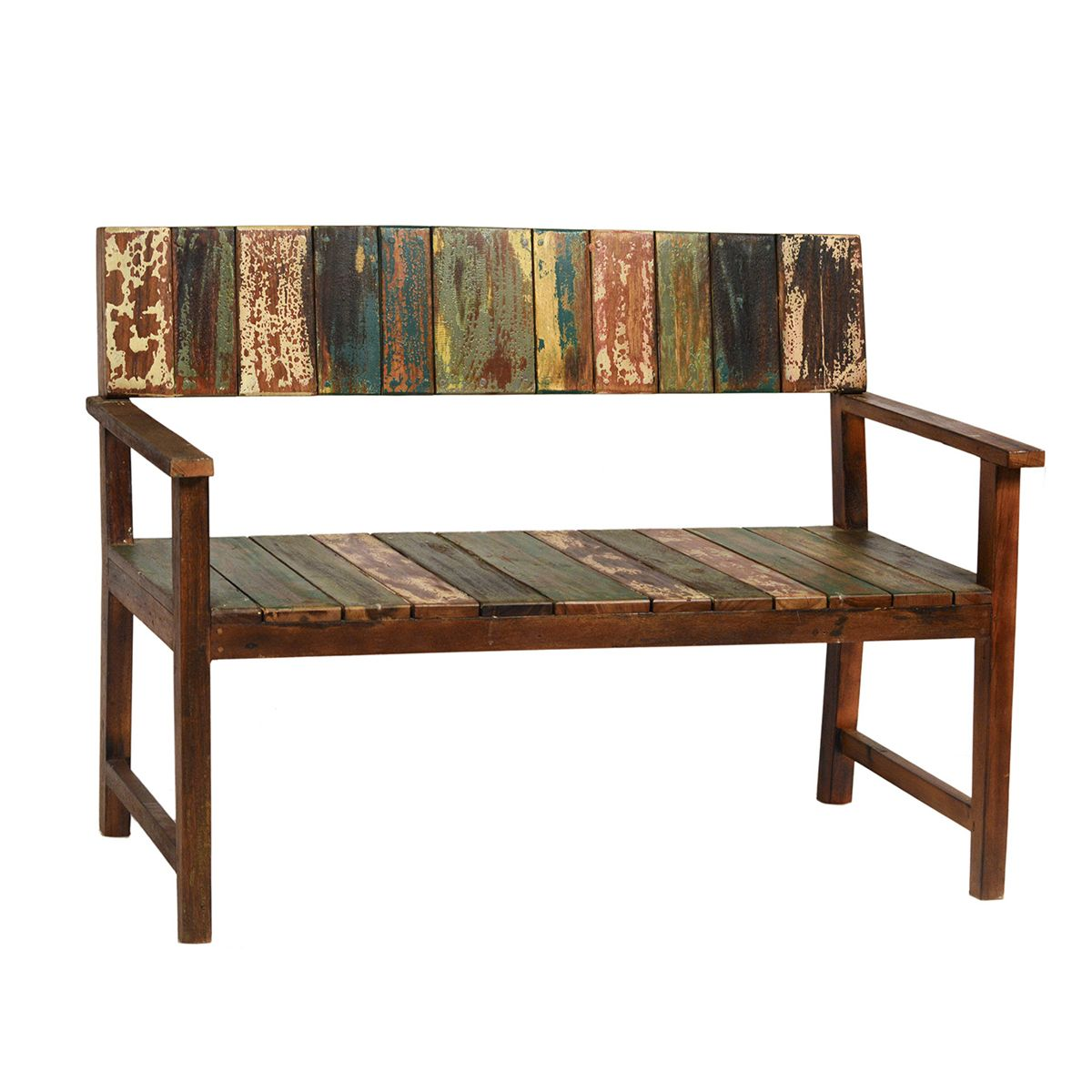 Reclaimed boat wood bench with beautiful distressed paint finish. Each is unique!