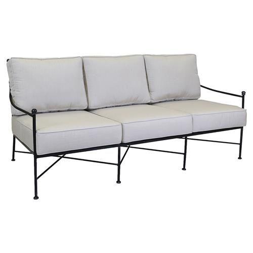 Outdoor Sofa Chaise Lounge, Black Metal Patio Sofa