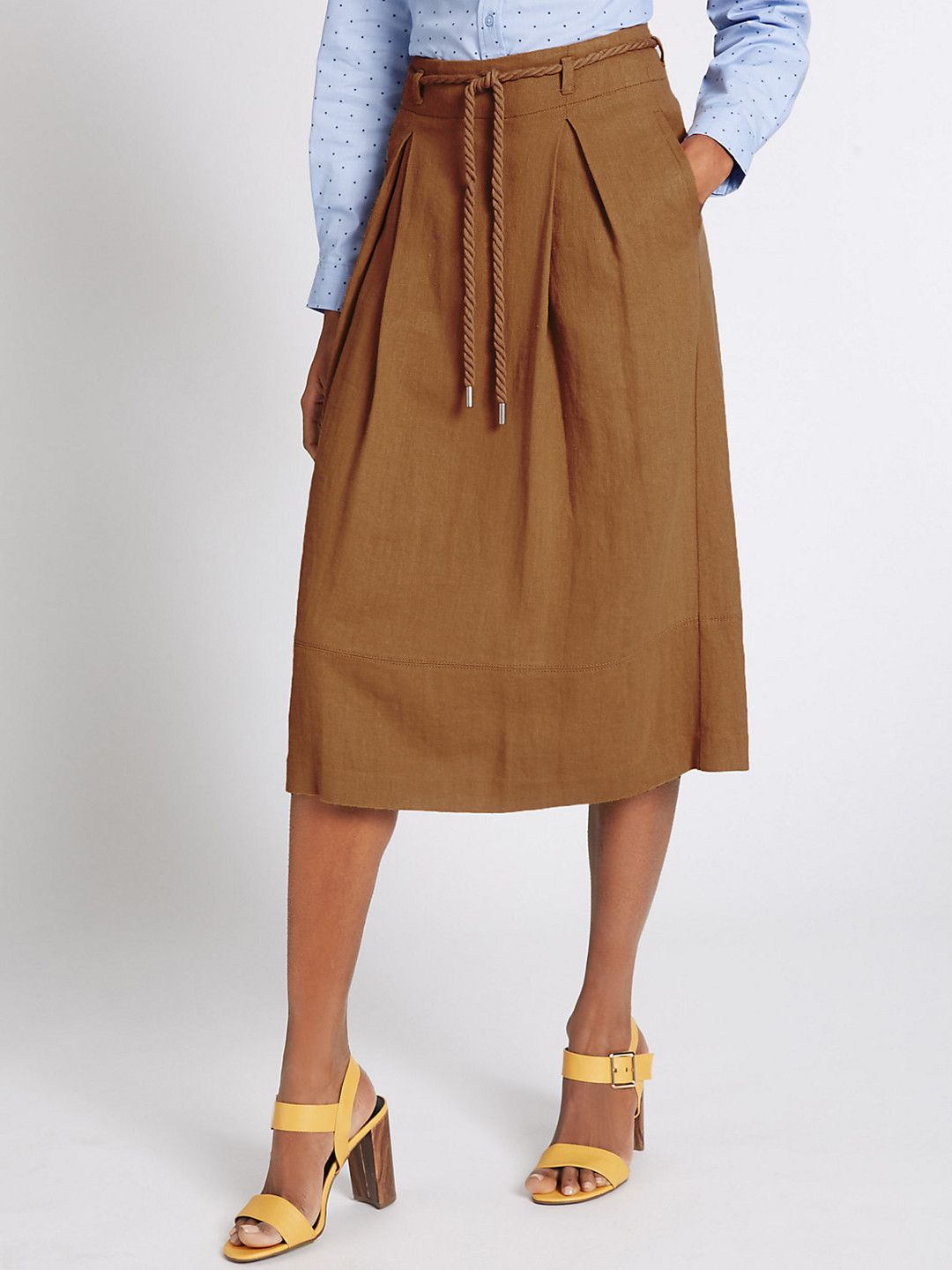 2dfa6cab0f8 Marks   Spencer Mustard Brown Midi A Line Skirt