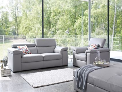 Grey Denver Leather Liberata 3 Seater Sofa Living Room Furniture Harveys