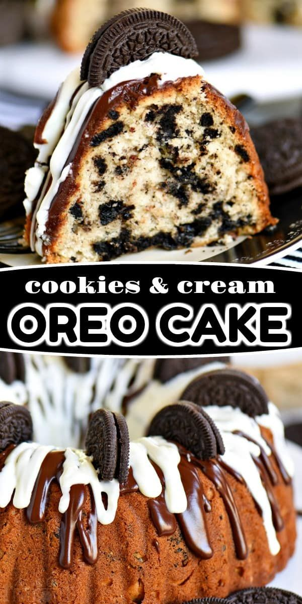 This easy Cookies and Cream OREO Cake is sure to delight the entire family! Extra delicious and wonderfully easy, this showstopper of a cake will be a welcome addition to any gathering!! // Mom On Timeout #oreo #cake #cookiesncream #recipe #dessert #desserts #baking #bundt #momontimeout #easy #cakemix #almondbreeze #ad #cookiesandcreamfrosting