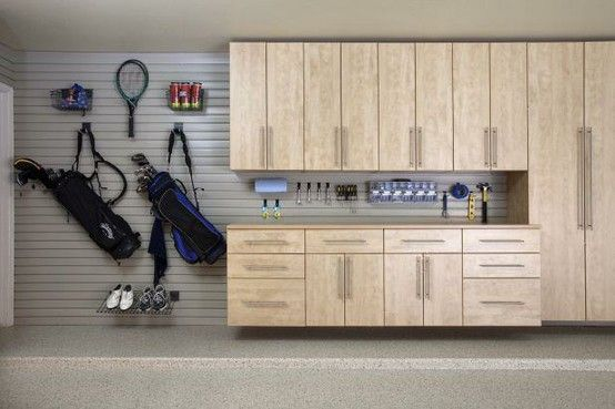 Tall Upper Cabinets Lots Of Counter Space With Slat Wall Storage Garage Workbench Plans Diy Storage Cabinets Garage Storage